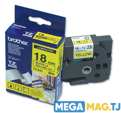 Изображение Лента BROTHER Original Laminated Labelling Tape P-Touch TZ-641 18mm (black on yellow tape)