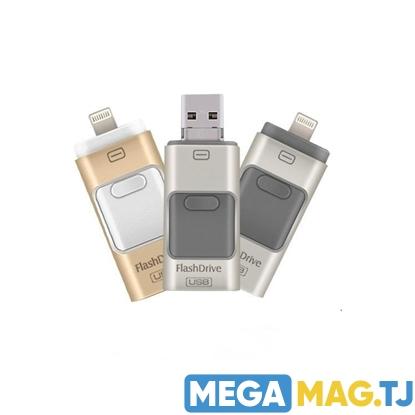Изображение Флэш-накопитель  3 в 1 USB OTG для iPhone, Android, PC.